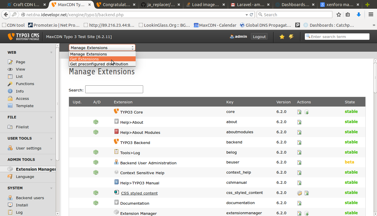 Typo3 admin extension manager