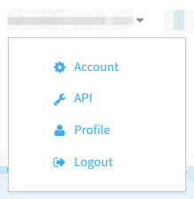 Screenshot of account options dropdown in the StackPath control panel